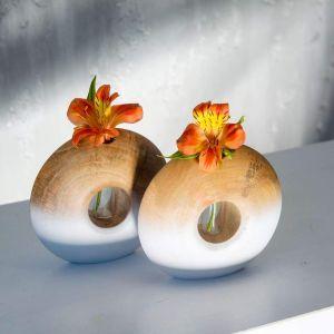 White&Brown circle tube vase