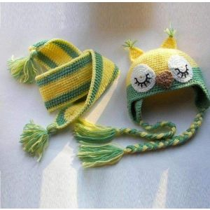 "Winter accessory children set. Crocheted hat and scarf ""Green Owl"""