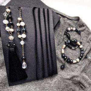 Women Long statement tassel necklaces with bracelets