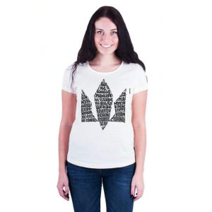 Womens cotton t shirts. White t shirt «Hymn»