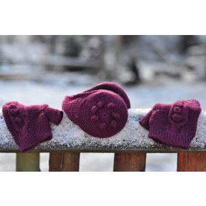 "Womens ear muffs and mittens set ""Burgundy love"""