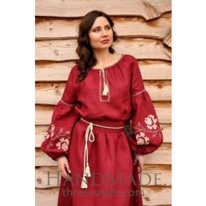 "Womens embroidered dress ""Rose wine"""