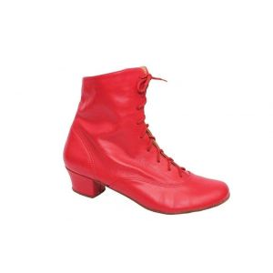 Women's red leather dance boots