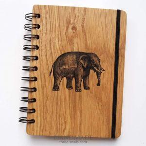 "Wood notebook ""Elephant"""