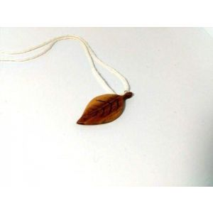 "Wood pendant necklace ""Brown leaf"""