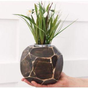"""Wood vase black """"Treasure of nature"""""""
