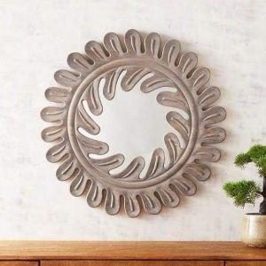 Wooden home décor mirror
