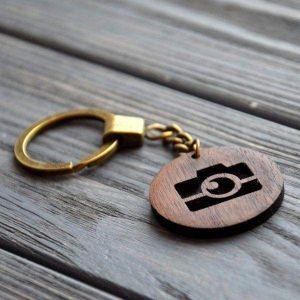 Wooden keychain camera