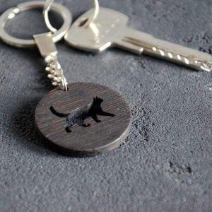 Wooden keychain cat