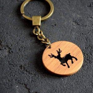 Wooden keychain deer