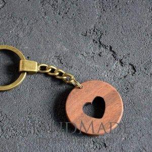 Wooden keychain heart