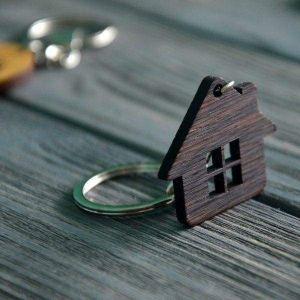 Wooden keychain house