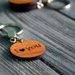 Wooden keychain love
