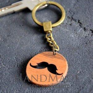 Wooden keychain mustachе
