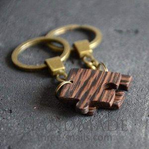 Wooden keychain puzzle