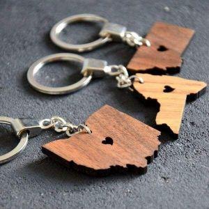 Wooden keychain USA