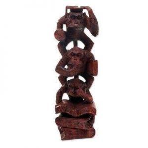 Wooden three wise monkeys figurine