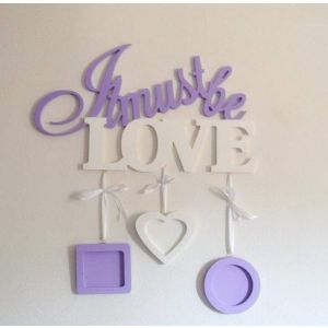 """Wooden wall hanging """"It must be love"""""""