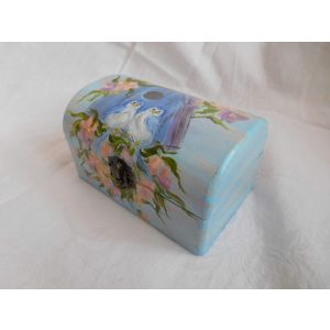 "Woodn jewelry box ""Blue Sparrows"""