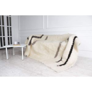"""Wool Knit Blanket """"Black and white"""""""