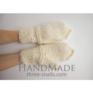 "Wool mittens ""Cream"""