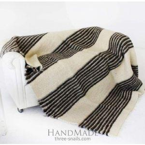 "Wool plaid blanket ""Grey stripes"""