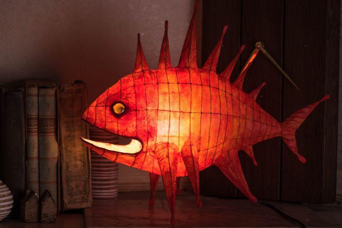 Paper Mache Lamp Sea Dragon, Paper Mache Lamp