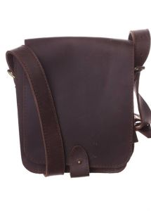 Small brown leather messenger bag for men