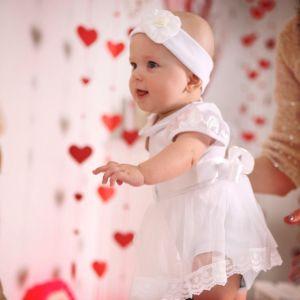 Christening romper dress baby girl set