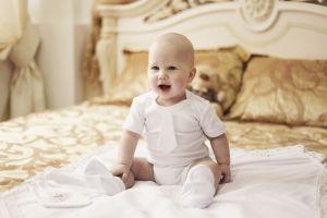 Baby boy white romper baptism set