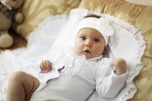 Baby girl romper baptism set