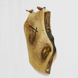 Large wooden wall clock with two birds