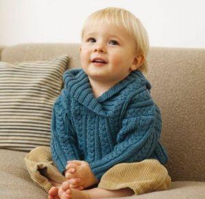 Wool blue sweater for kids