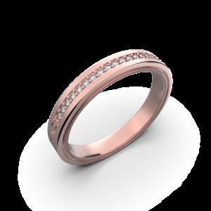 Rose gold diamond wedding band for her 0,076 carat