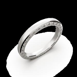 White gold diamond wedding band for her 0,224 carat