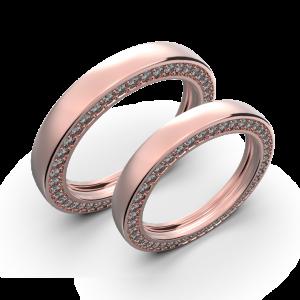 Diamond wedding band set in rose gold