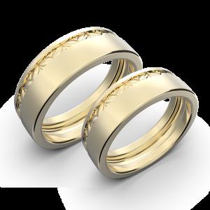 Yellow gold wide wedding band set