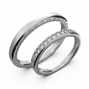 White gold and diamond couple wedding rings