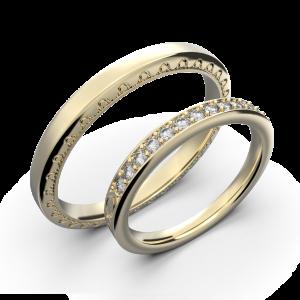 Yellow gold and diamond couple wedding rings