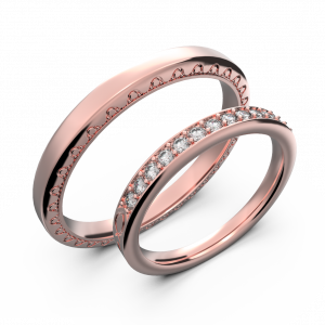 Rose gold and diamond couple wedding rings