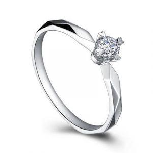 Gold engagement diamond ring