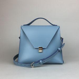 Pastel blue leather crossbody bag