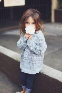 Hand knitted sweater for baby girl