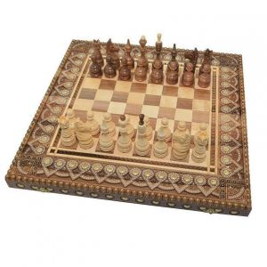 Large wooden chess board set