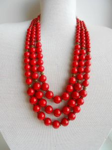 Red clay bead 3 rows necklace