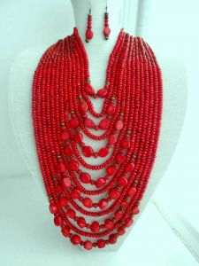 Natural coral statement necklace and earrings set