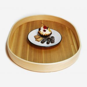 Oval serving wooden tray