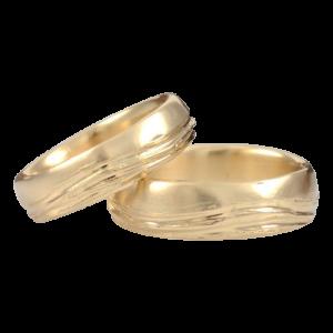 Sea and sky wedding rings set