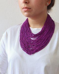 "Purple beaded necklace ""Dark ceramics"""