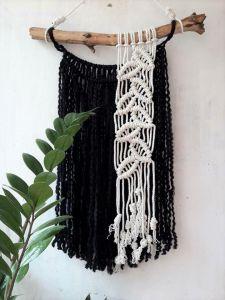Black and white macrame wall hanging